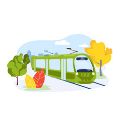 Electric subway train urban public transport vector