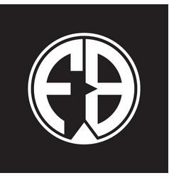 Fb logo monogram circle with piece ribbon style vector