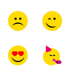 flat icon face set of sad party time emoticon vector image