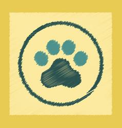 Flat shading style icon dog trail vector