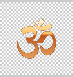 Gold om or aum indian sacred sound isolated object vector