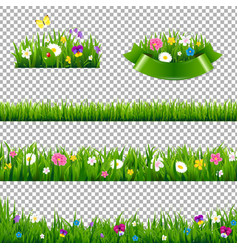 Green grass borders collection with flowers vector