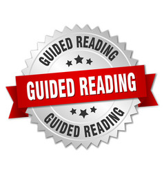 Guided reading round isolated silver badge vector
