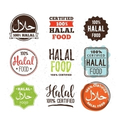 Halal food labels set Badges design vector image