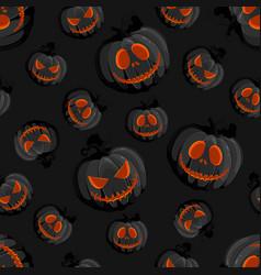 Halloween horror pumpkin jack-o lantern seamless vector