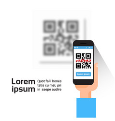 Hand hold smart phone scanning qr code banner vector