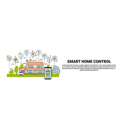 hand hold smartphone with smart home control vector image