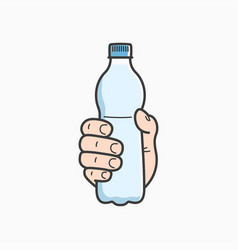 hand hold water bottle male hand plastic water vector image