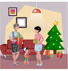 happy family decorates the christmas tree vector image