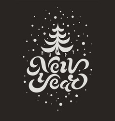 Happy new year calligraphic greeting card design vector