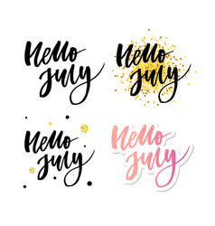 hello july lettering print summer minimalistic vector image