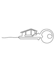 house key logo template real estate key house vector image