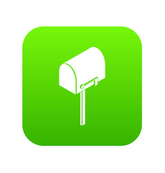 House postbox icon green vector