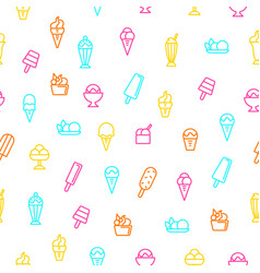 ice cream signs thin line seamless pattern vector image