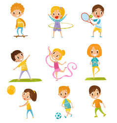 kids doing different kinds of sports set vector image