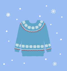 knitted sweater with scandinavian ornament on blue vector image
