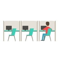 Line Of Similar Cubicles With One Person At Work vector image