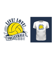 live love volleyball t shirt print design vector image