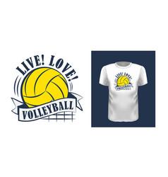 Live love volleyball t shirt print design vector