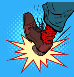 Man leg kick anger aggression vector