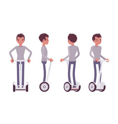 man riding a white electric scooter vector image