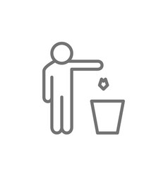 Man throws out waste trash line icon vector