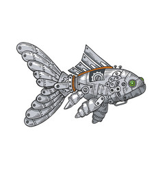 mechanical fish animal color sketch engraving vector image