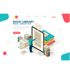 media book library template vector image