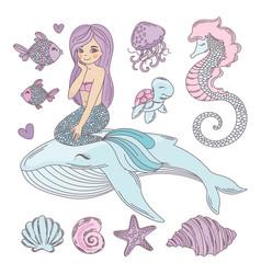 Mermaid friends cartoon travel tropical vector