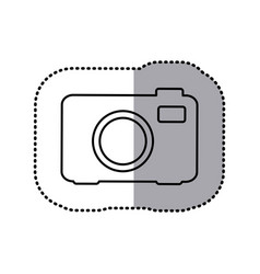 Monochrome contour sticker of analog camera vector