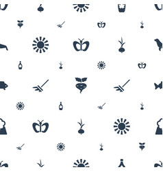 Nature icons pattern seamless white background vector