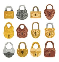 old fashioned door locks flat vector image