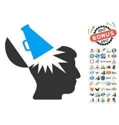 Open Brain Megaphone Icon With 2017 Year Bonus vector