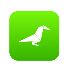origami raven icon green vector image