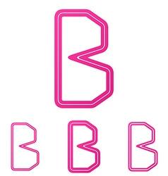 Pink b letter logo design set vector