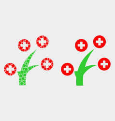 Pixelated and flat medical tree icon vector