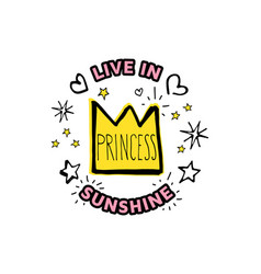 princess live in sunshine cartoon sketch vector image