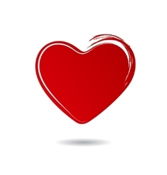 Red hand drawn heart isolated on white background vector image