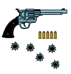 Revolver with cartridges and bullet holes design vector