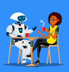 robot having a good time with friend woman at vector image
