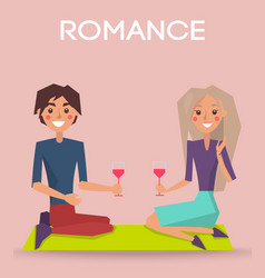 Romance valentine day poster couple sit on knees vector