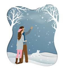 romantic couple standing in winter season with vector image