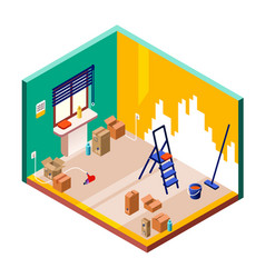 Room renovation isometric vector