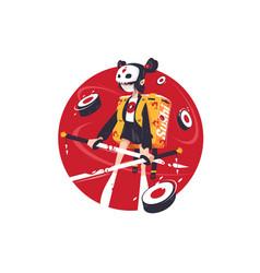 Samurai girl with katana vector
