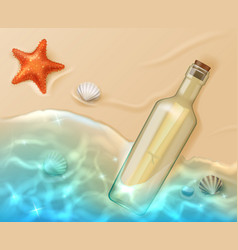 scroll in glass bottle with cork on beach vector image