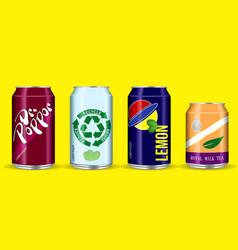 Set drinking soda water in aluminium can vector