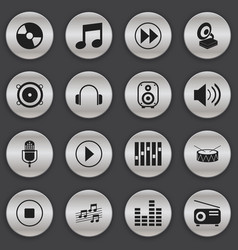 Set of 16 editable media icons includes symbols vector