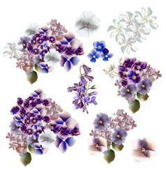 set of flowers in watercolor style vector image