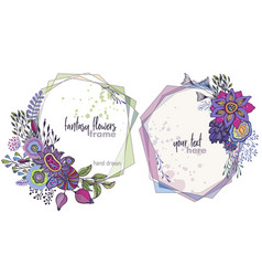 set two colorful floral frames vector image