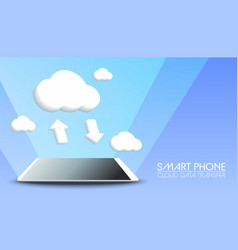 smart phone cloud data transfer on blue background vector image